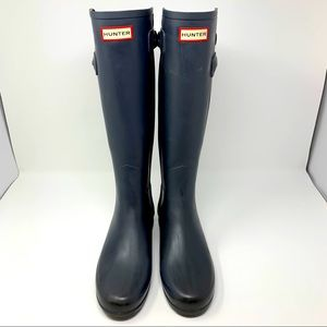 Hunter tall grey rain boots with adjustable straps